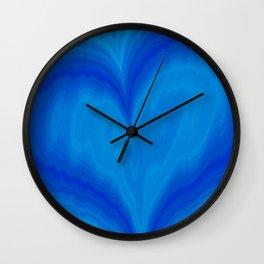 Valentine's Day Blue Heart Wavy Pattern Wall Clock