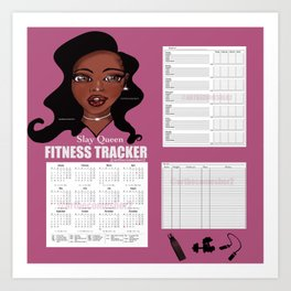 2020 Fitness & Wellbeing Tracker - Slay Queen Art Print