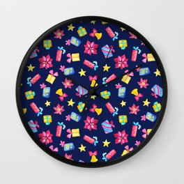 Christmas Gifts and Poinsettia. Colorful Watercolor Pattern for Winter Holiday Wall Clock