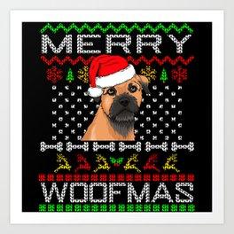 Border Terrier Merry Woofmas Art Print