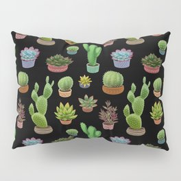 Potted cacti and succulents on black background Pillow Sham