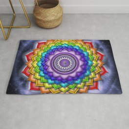 "Sahasrara Chakra Rainbow Lotus - Series ""Open Chakra"" Rug"