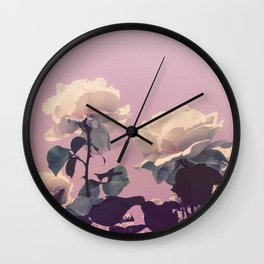 Vintage Spring Pearl White Roses Lavender Sky Wall Clock