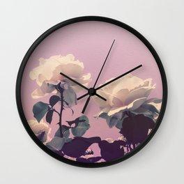 Vintage Spring Pearl White Roses Lavender Sky Wall Clock