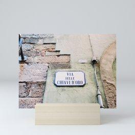 Street sign in Lucca Italy | Europe fine art photography print | Pistachio green Mini Art Print