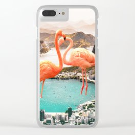 Collage, Flamingo, City, Creative, Nature, Modern, Trendy, Wall art Clear iPhone Case