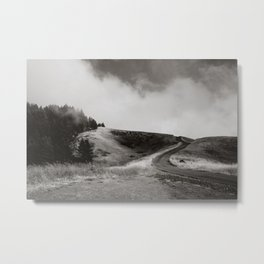 Black and White Winding Road on Mount Tamalpais Metal Print