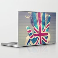 british flag Laptop & iPad Skins featuring british flag love by Starr Shaver
