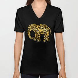 Floral Elephant in Gold Unisex V-Neck