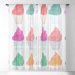 Cupcake Pattern Sheer Curtain