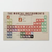 the mortal instruments Canvas Prints featuring The Mortal Instruments Periodic Table of Characters by thespngames