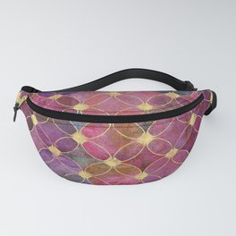 Informe Abstracta Burgundy Abstract Pattern Golden Rings Design Fanny Pack