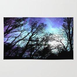 black trees periwinkle blue aqua space Rug