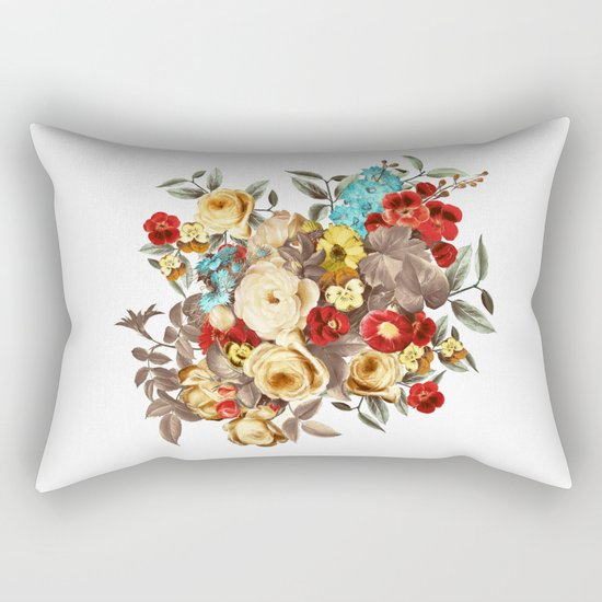 Watercolors Floral Pattern Rectangular Pillow