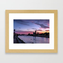Sunset at Pisa, Italy  Framed Art Print