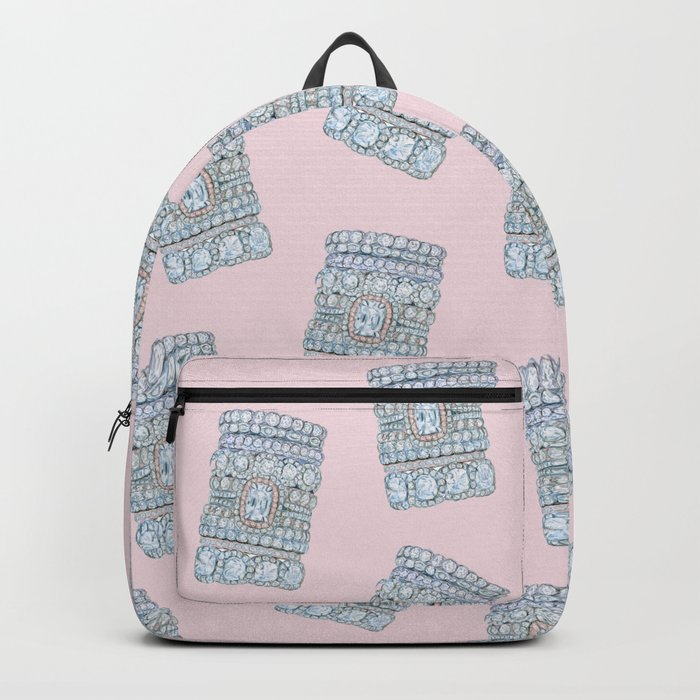 Diemond Rings on Light Pink Backpack