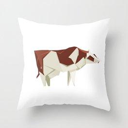 Origami Cow Throw Pillow