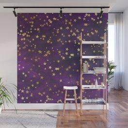 Dark Purple Gold Stars Wall Mural