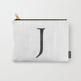 Letter J Initial Monogram Black and White Carry-All Pouch