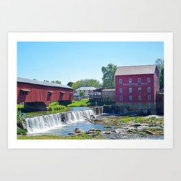 Bridgeton Mill and Covered Bridge Art Print