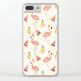 Watermelon Flamingo Pineapple Clear iPhone Case