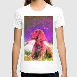 Cute Irish Setter Dog In Space T-shirt