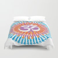 om Duvet Covers featuring Om by WeedPornDaily