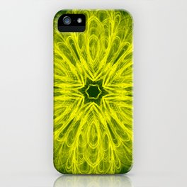 Bold yellow kaleidoscope on deep forest green iPhone Case