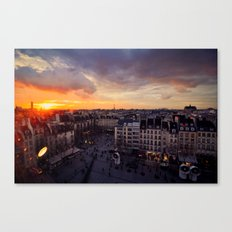Paris Skyline Sunset Canvas Print