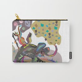 """Elephant Cha Cha"" Paulette Lust's Original, Contemporary, Whimsical, Colorful Art  Carry-All Pouch"