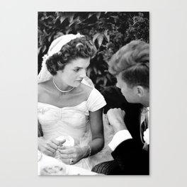 John and Jackie Kennedy At Their Wedding - 1953 Canvas Print