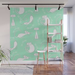 Le Chat - Mint Green Wall Mural