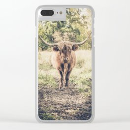 Highland scottish cow cattle long horn Clear iPhone Case