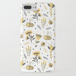 Bees and ladybugs. Gold and black iPhone Case