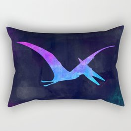PTERODACTYL IN SPACE // Dinosaur Graphic Art // Watercolor Canvas Painting // Modern Minimal Cute Rectangular Pillow