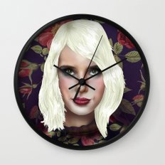 Young Girl and Flowers (Emma Roberts) Wall Clock