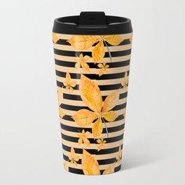 Orange Leaves on Black and Gold Stripes Travel Mug