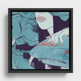 Peaceoffering: Sharks! Women! Danger. Framed Canvas