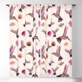 Hummingbird & Tropical Leaves - Soft Pastel Pattern Blackout Curtain