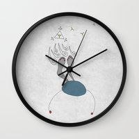 night sky Wall Clocks featuring Night Sky by sinonelineman