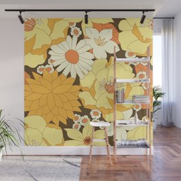 Yellow, Orange and Brown Vintage Floral Pattern Wall Mural