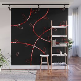 Jagged leaves, red Wall Mural