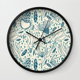 Flying flowers and triangles Wall Clock