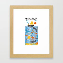 Animals of the great barrier reef Framed Art Print