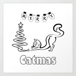 Merry Catmas Cat Christmas Art Print