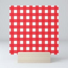 Red and White Country Checkered Plaid Picnic Pattern Mini Art Print
