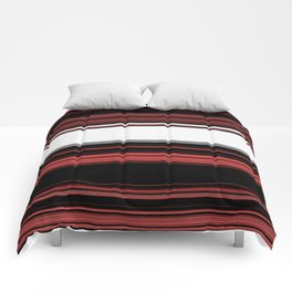 Red, Black and White with Gray Stripes Comforters
