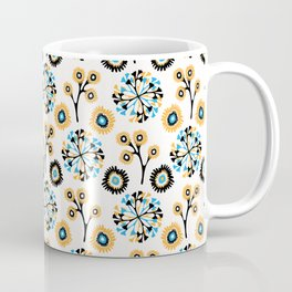 Fall Flowers Seamless Vector Pattern, Hand Drawn Autumn Floral Blooms Coffee Mug