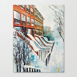Brooklyn New York In Snow Storm Canvas Print