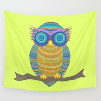henna Wall Tapestries featuring Henna Owl by haleyivers